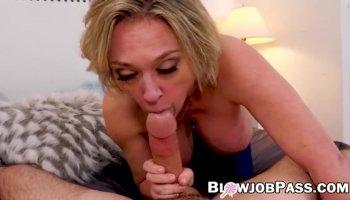 Pov blowjob with hot stepmom sucking some hard dick deep