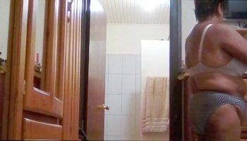 My indian stepmom with big tits shower and drying off